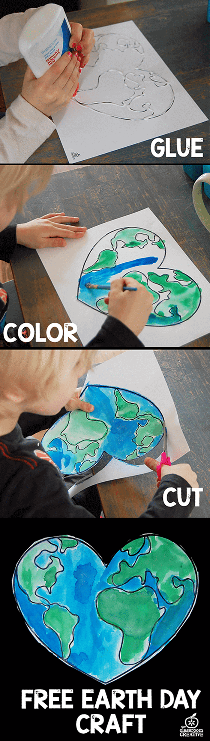 Free April Activities and Printable Resources - Earth Day craft heart