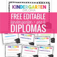 Free Pre-K and Kindergarten Graduation Diplomas