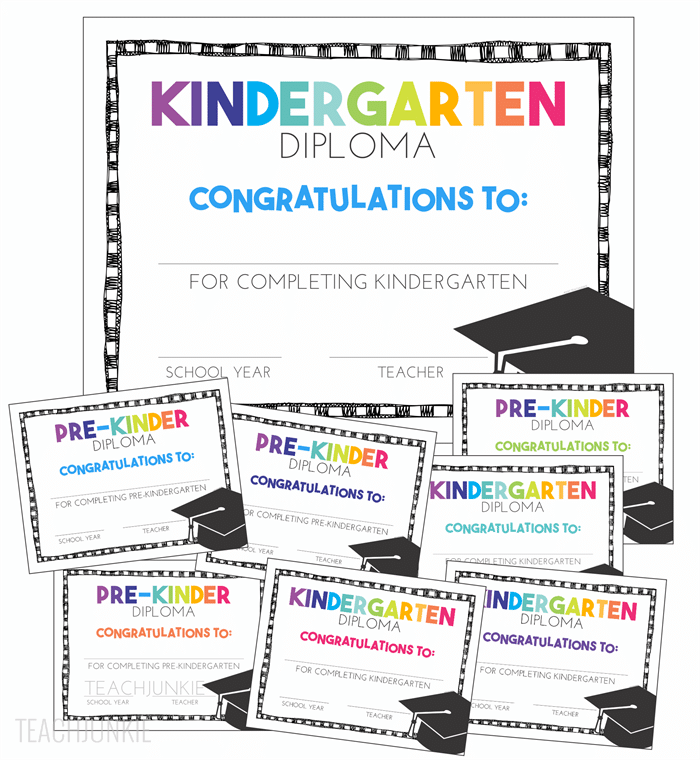 Free Kindergarten and Pre-K Graduation Diplomas