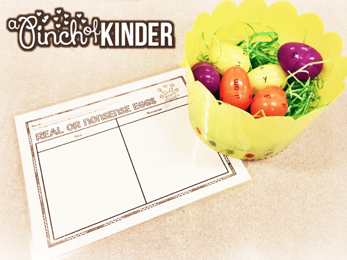 Free March Activities and Printable Resources - real and nonsense words Easter egg activity