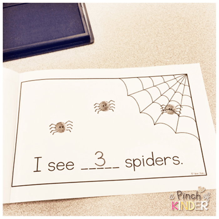 Free October Activities and Printable Resources - counting spiders fingerprint booklet