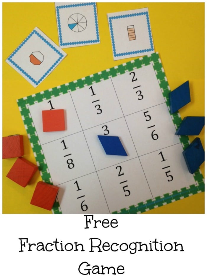 Free fractions recognition printable game
