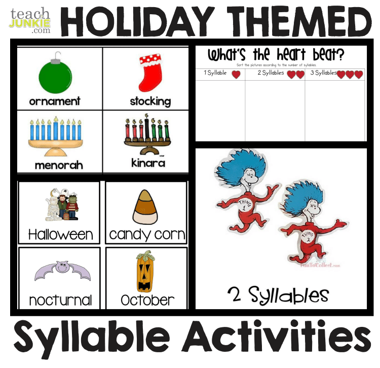 Holiday Themed Counting Syllables Activities : Syllables - 8 Easy to Print Activities Teach Junkie
