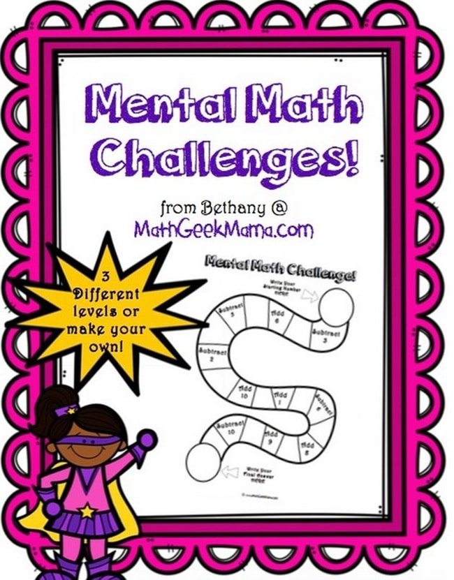 Mental Math: 7 Fun Printable Challenge Boards - Teach Junkie