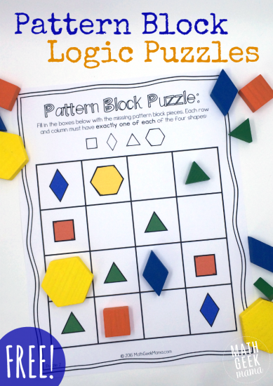 Pattern Block Logic Puzzle (free) like sudoku for kindergarten and first graders. How fun!