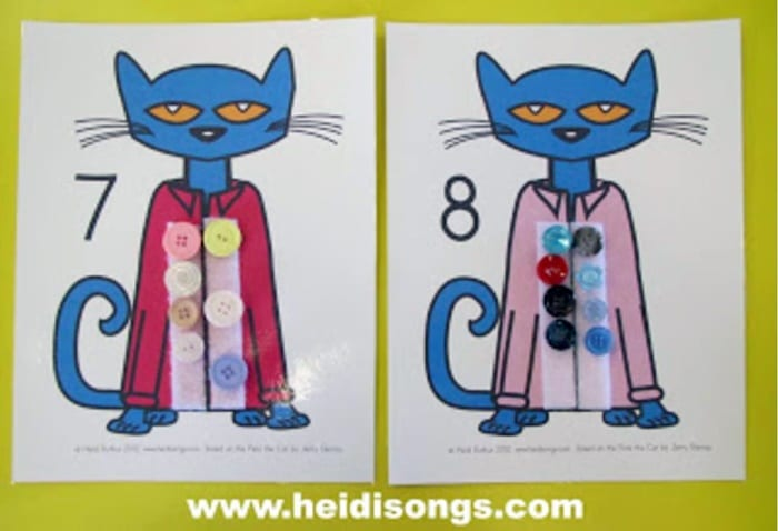 Pete the Cat Matching Sets Counting Mats Free printable
