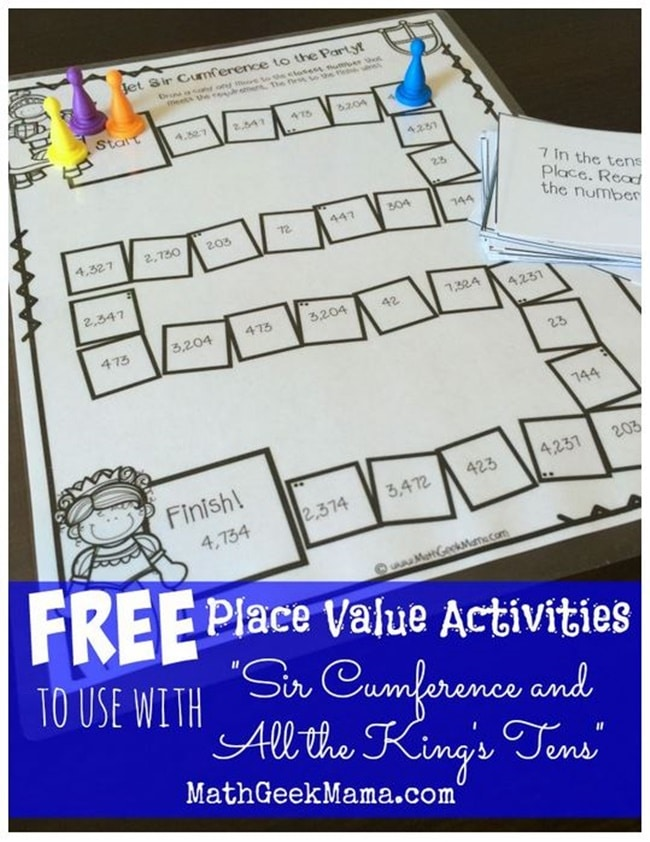 Versatile image in printable place value game