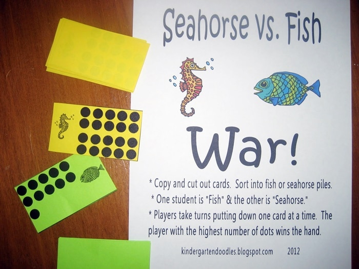 Pre-k and Kindergarten Free Downloads and Teacher Printables - comparing numbers to 20 war game