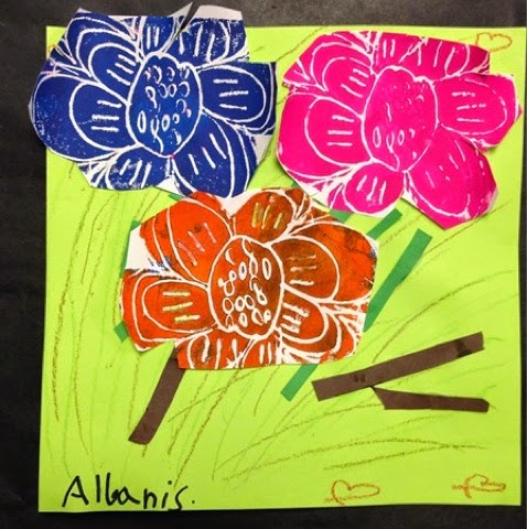 Printed Flowers Collage Art Project