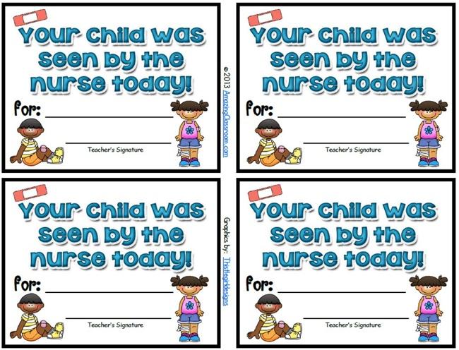 School Nurse Visitor Slips {Printable} - Teach Junkie