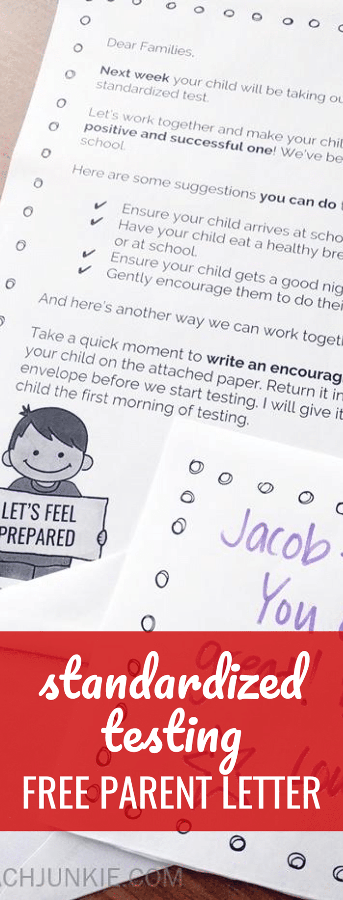Standardized Testing Parent Letter (Freebie) with encouraging note