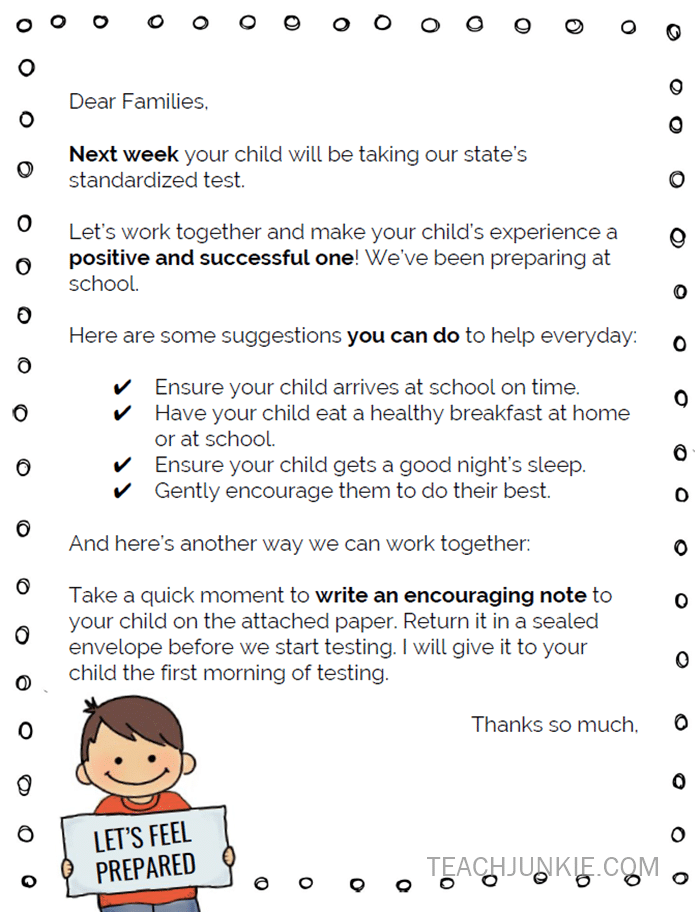 Standardized Testing Parent Letter (Freebie)