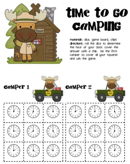 18 Telling Time To The Hour Resources - Time to go camping - Teach Junkie