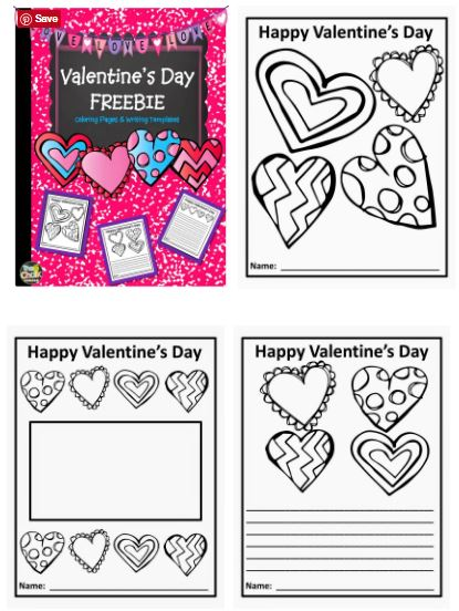 Valentine\'s Day Writing Paper Templates and Coloring Pages - Teach ...