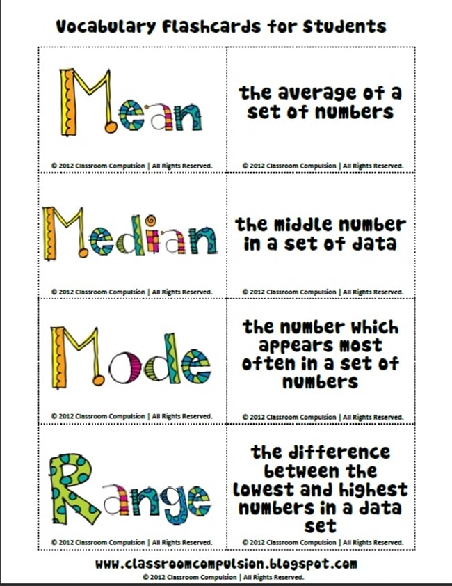 Vocabulary Flash Cards - Range Median Mode: 24 Quick, Free Activities and Resources - Teach Junkie