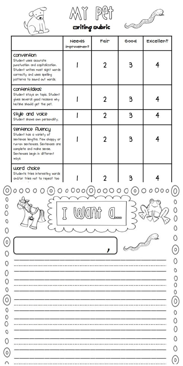Writing Rubrics for Primary Grades - Free Pets Persuasive letter writing for first grade