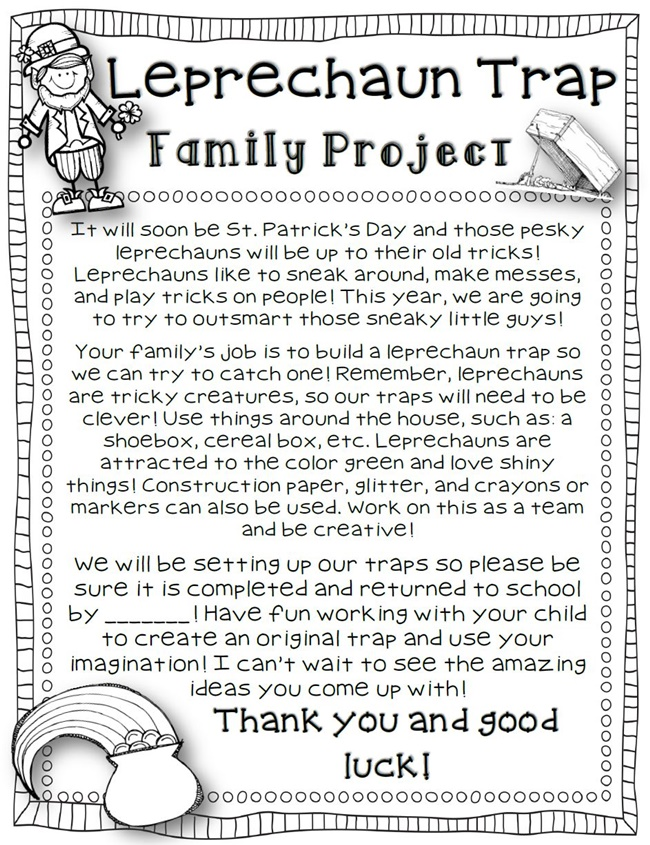 29 Zany St. Patrick's Day Learning Resources - leprechaun trap (parent letter) - Teach Junkie