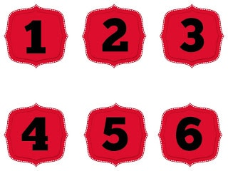red numbers 1-100