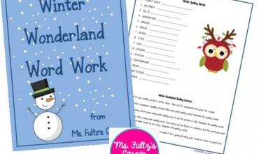 Scrambled Winter Vocabulary Words Worksheet