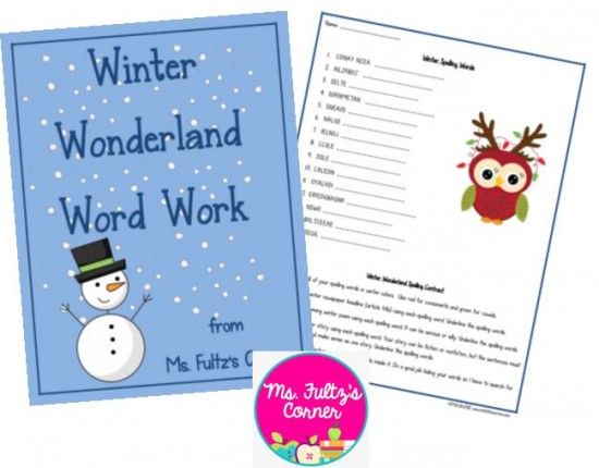 Scrambled Winter Vocabulary Words Worksheet